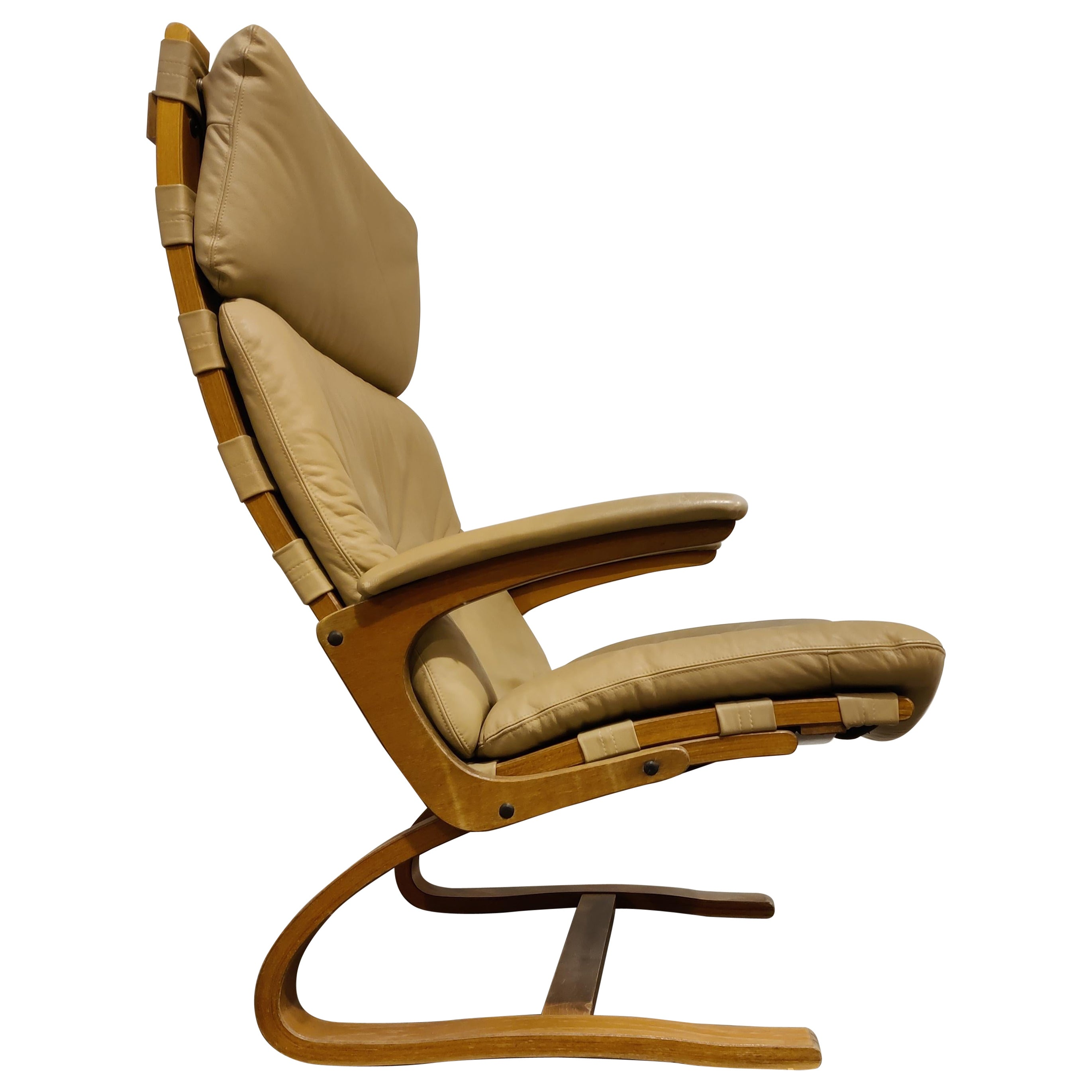 Vintage Leather Lounge Chair by Ingmar Relling, 1970s