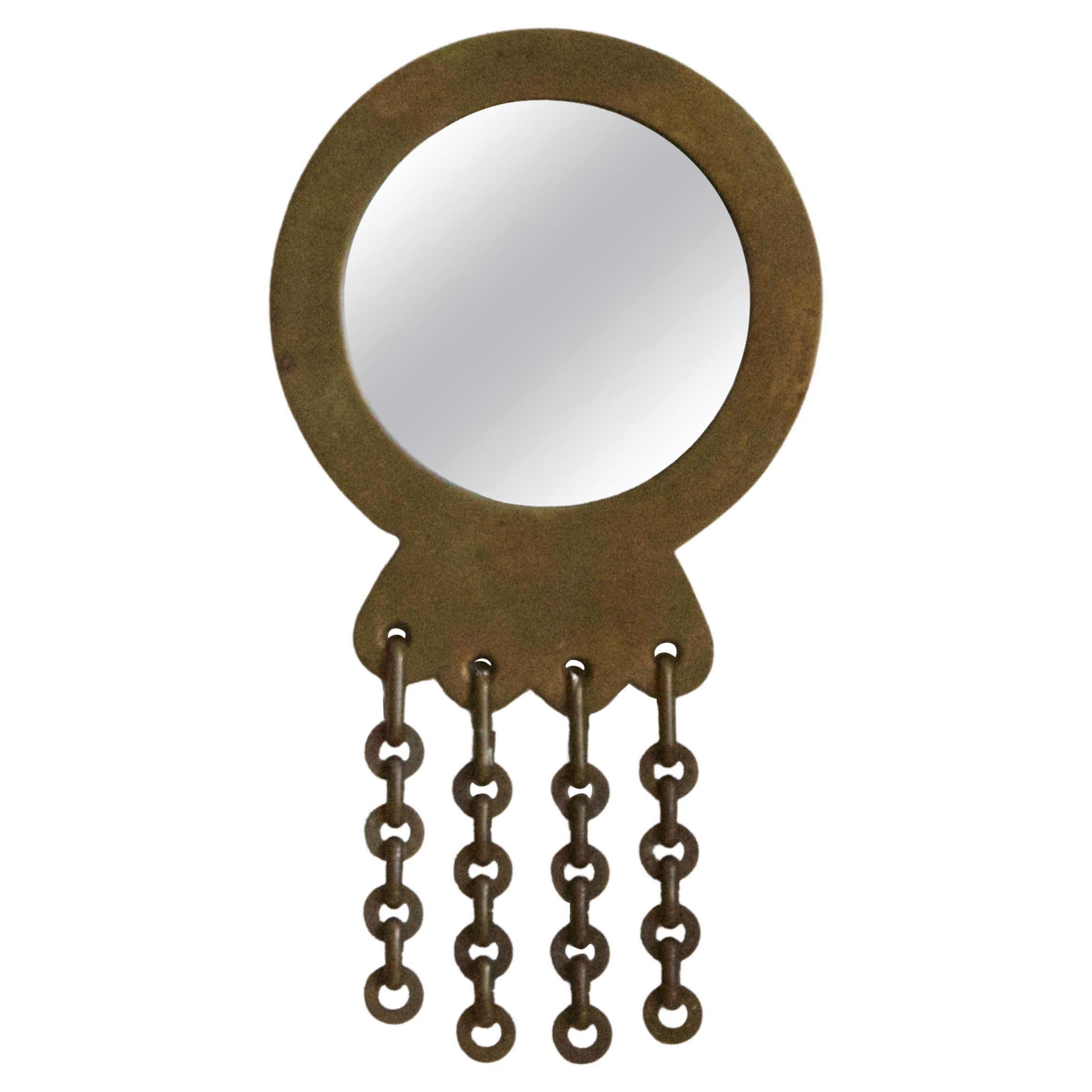 Italian, Small Wall Mirror, Brass, Mirror Glass, Italy, 1940s