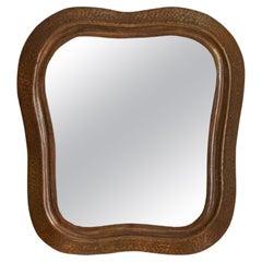 Italian, Small Organic Wall Mirror, Hammered Copper, Mirror Glass, Italy, 1940s