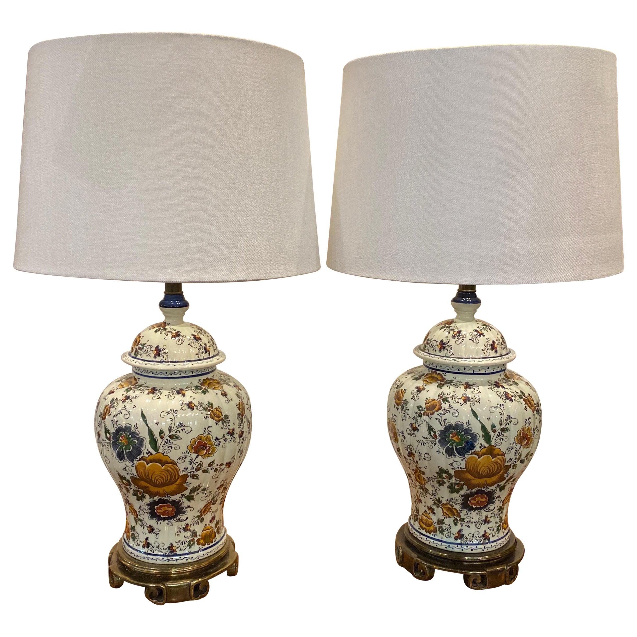 Pair of Delft Ginger Jar Lamps