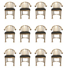 Set of Twelve Dining Chairs, Gold Finish, Brass Look, Aluminum