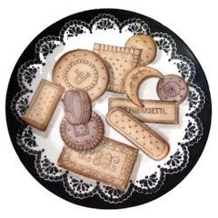 Piero Fornasetti Biscotti Pattern Porcelain Plate, Trompe l'oeil Cookies