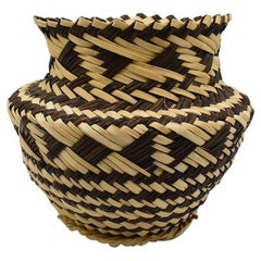 Woven Tribal Basket Vase in Brown and Black