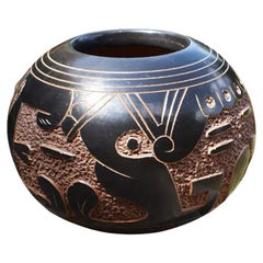 Native Clay Carved Black and Brown Seed Pot, Signed