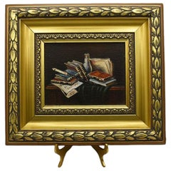 Framed Still Life Book Painting on Canvas in Gilt Frame with Stand