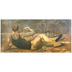 """""""Dancer at Rest,"""" Large Painting of Half-Nude Male Ballet Dancer, Mid Century"""