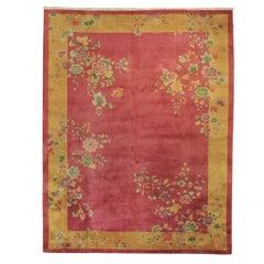 20th Century Pink and Yellow Chinese Deco Handmade Rug, ca 1920-1940