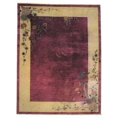 20th Century Purple and Yellow Handknotted Chinese Art Deco Rug, ca 1920-1940