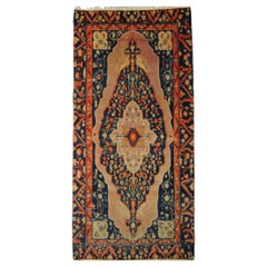 20th Century Pink and Blue Floreal with Medallion Samarkand Rug, Ca 1920