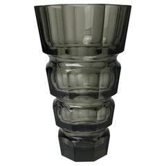 Large Antique Josef Hoffmann for Moser Art Deco Faceted Smokey Topaz Glass Vase