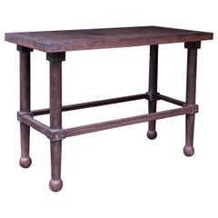 1880s Victorian Mercantile Iron Work Table Vintage Industrial Console Entryway