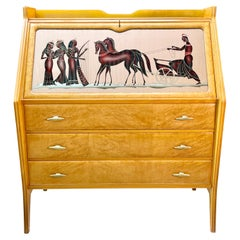 1940's Italian Secretaire with Reverse Painted Glass