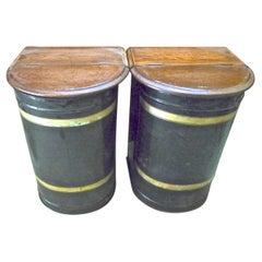 Pair of English 19th Century Toile Storage Bins with Walnut Lids