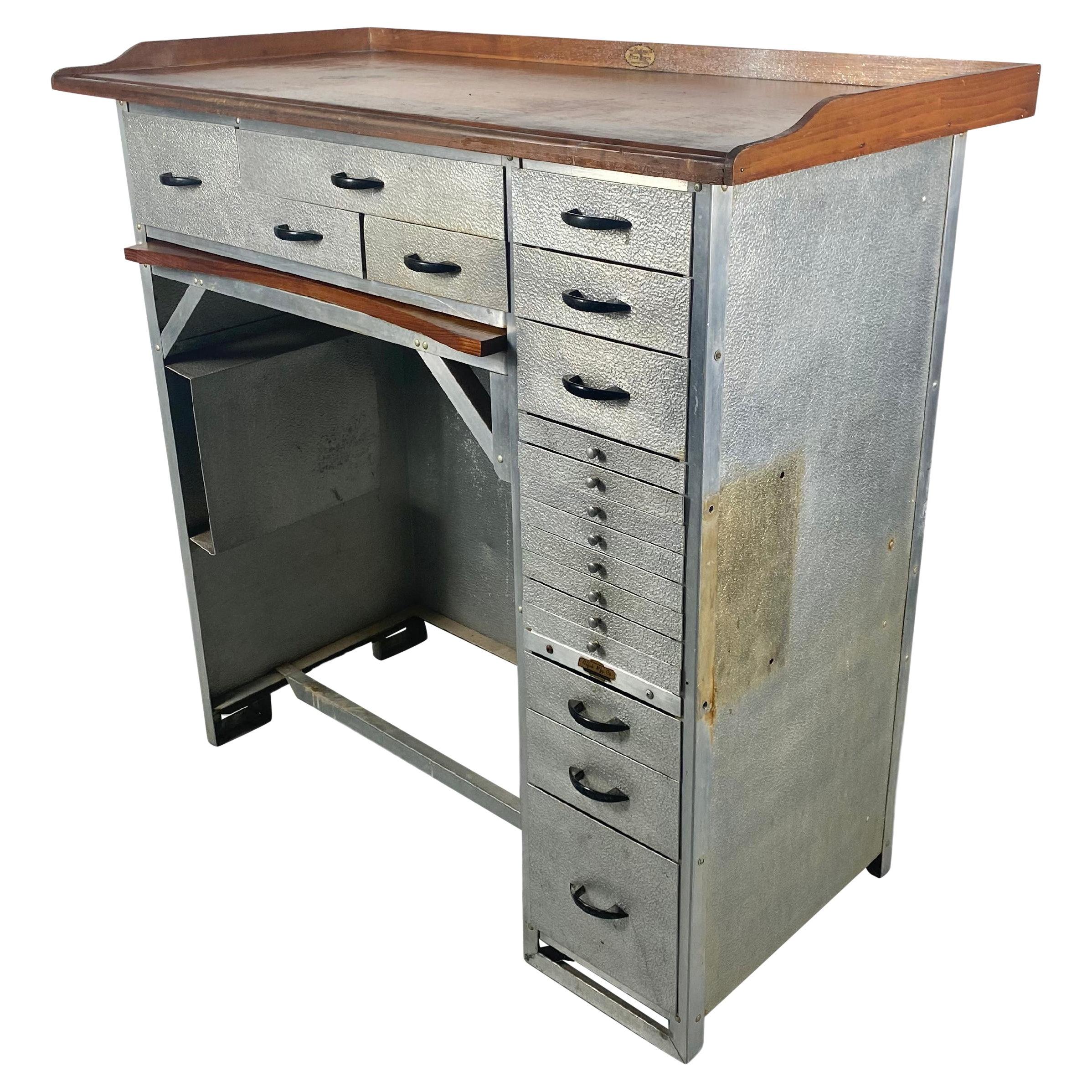Vintage ,Industrial, Aluminum Watchmaker's Desk, Manufactured by Alfab