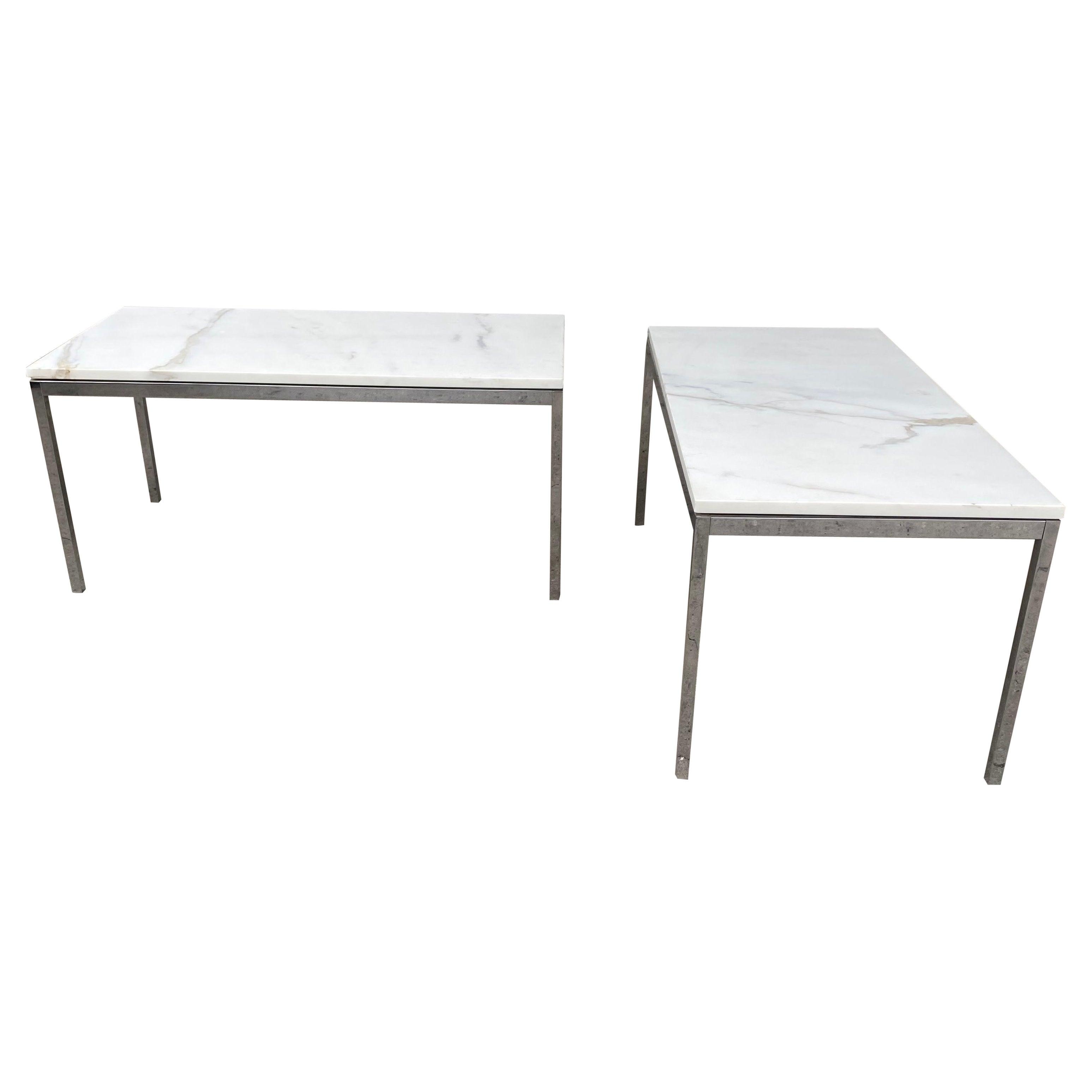 Florence Knoll Rectangular Coffee Table, Marble & Chrome