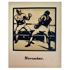 """William Nicholson """"Boxing"""" from Almanac of Twelve Sports, First Impression, 1897"""