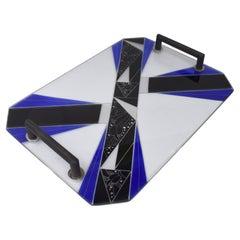Art Deco Blue Glass Geometric Drinks Tray, c1930