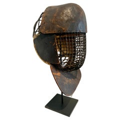 French Leather 19th Century Fencing Mask on Custom Iron Stand