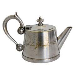 "Art Deco Silvered Tea Pot from"" Cafe du Grand Hotel"" France"