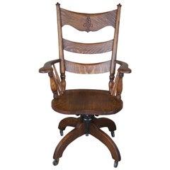 Antique Victorian Hubbard Eldridge & Miller Quartersawn Oak Executive Desk Chair