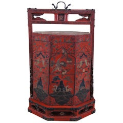 Antique Chinese Lacquered Octagonal Stacking Wedding Basket Box Tiffin