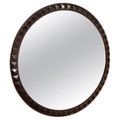 Italian, Round Carved Wood Mirror, c. 1940