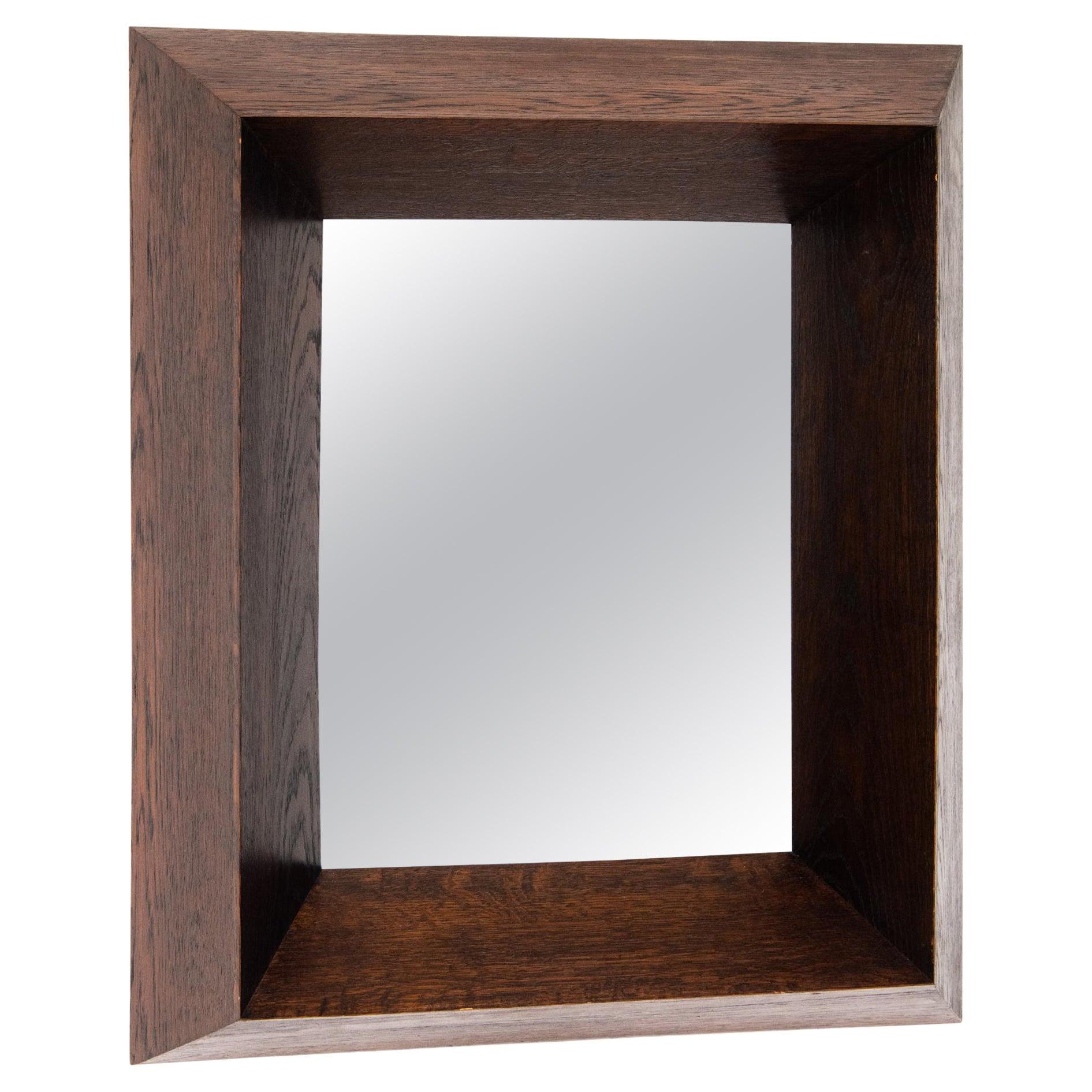 Belgian, Art Deco Cubist Wood Framed Mirror, c. 1930