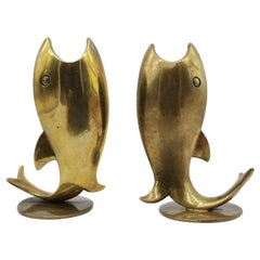 Two Candle Holders in Fish Look, Brass, by Richard Rohac Vienna, Austria