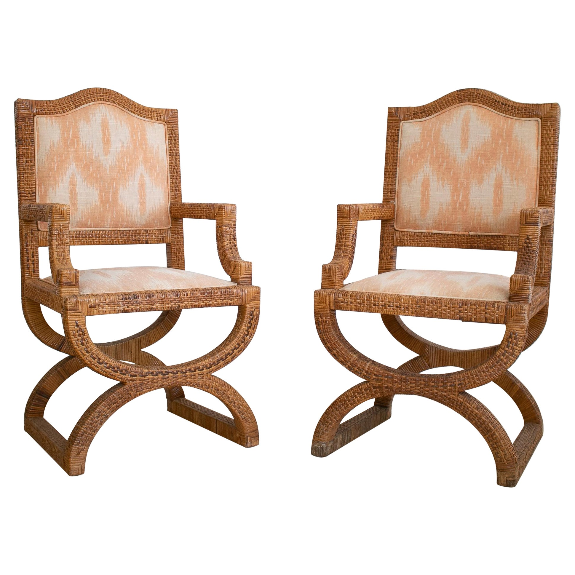Pair of 1980s Spanish Woven Wicker Armchairs