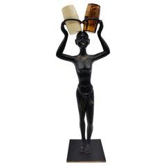 African Woman Salt and Pepper Shaker Holder, Blackened Brass, Austria