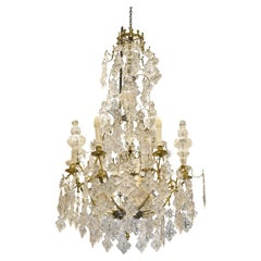 Louis XV Style Chandelier 12 Lights, Glass, Bronze, Baccarat, France, 19th C