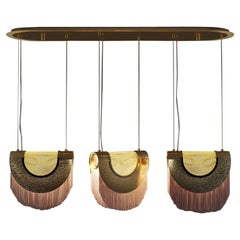21st Century Seoul Suspension Lamp Silk Fringes Brass by Creativemary