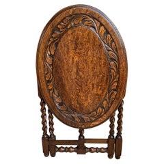 Petite Antique English Carved Tiger Oak Folding Tea Coffee Table Barley Twist