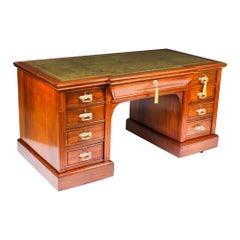Antique Victorian Walnut Pedestal Desk 19th Century