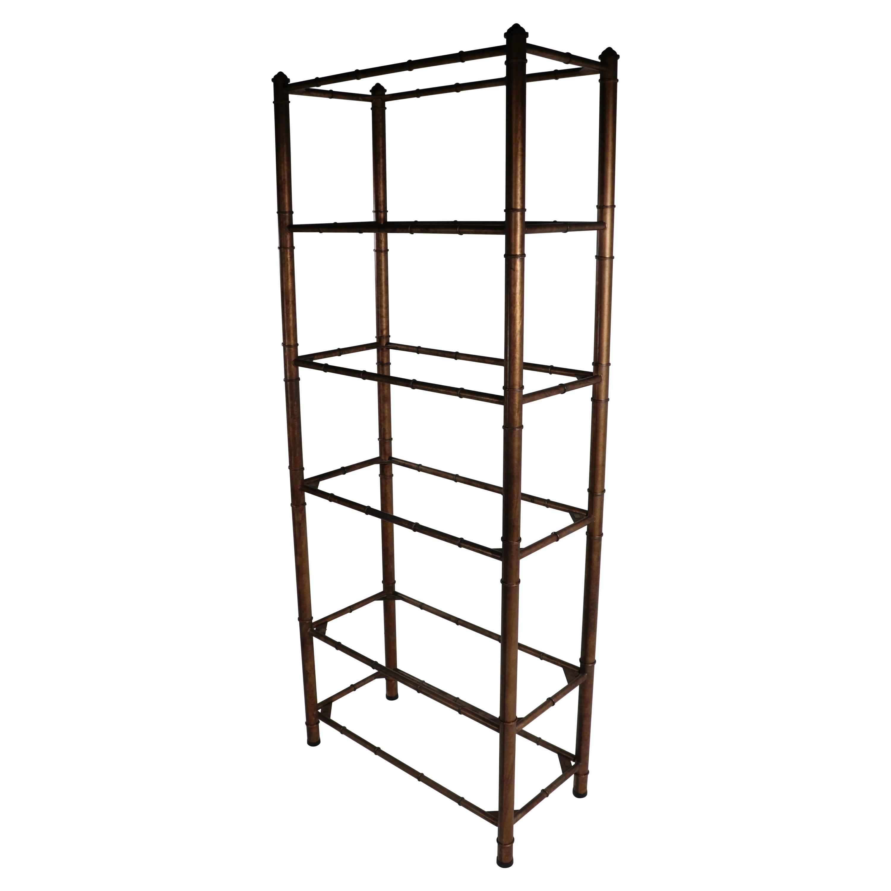 Faux Bamboo Etagere, Display with Glass Shelves
