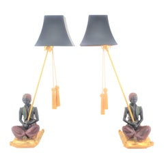 Pair of Art Deco Styled Figural Genie Princess Inspired Chalkware Table Lamps