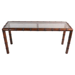 Faux Bamboo Cane and Glass Console Sofa Table