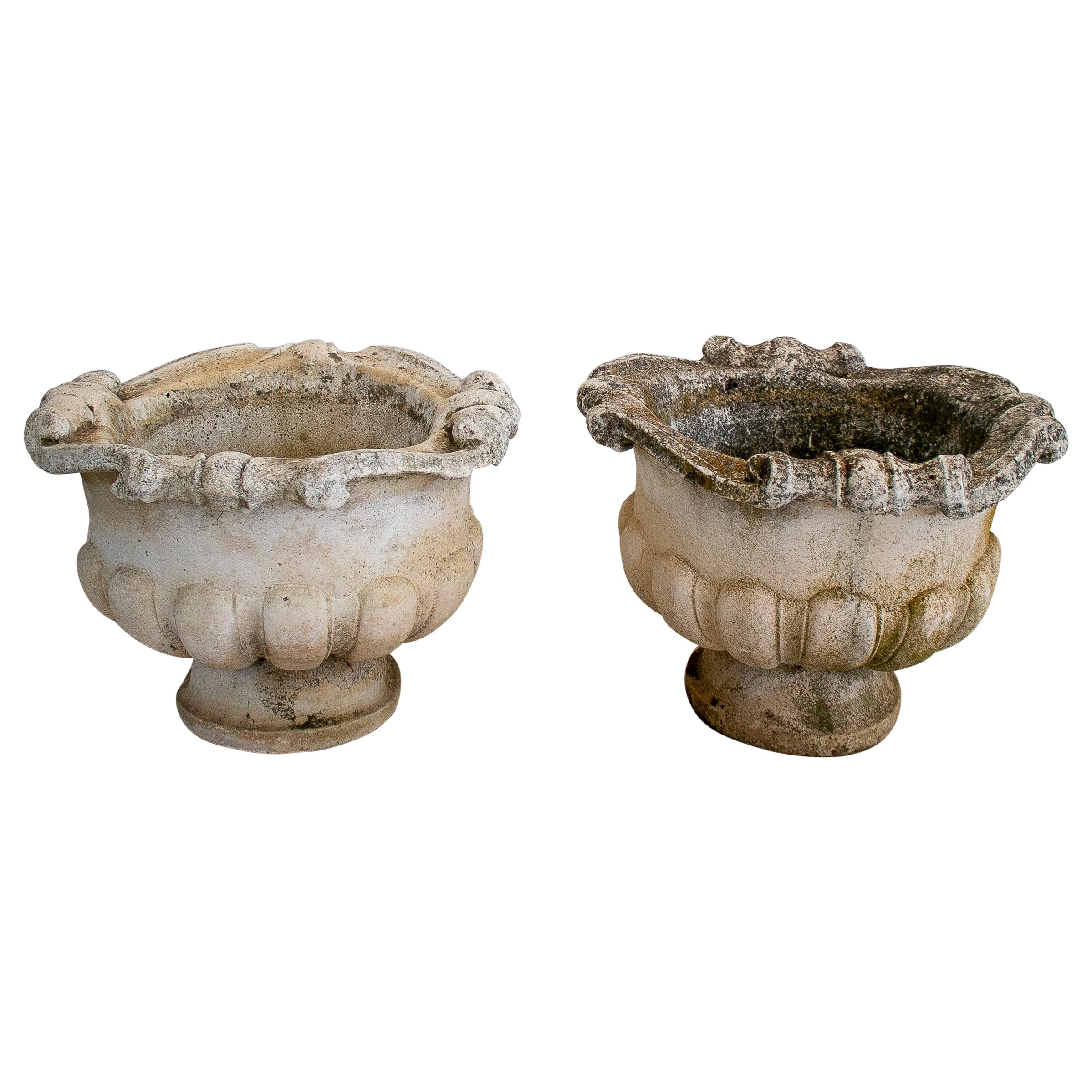 Pair of 1970s French Reconstituted Stone Garden Planters