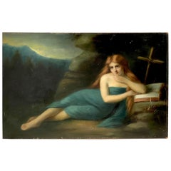 Original Oil Painting by Germaine Dawis, France 1921, a Nude Redhead Women