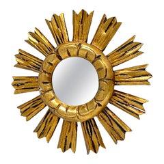 Petite French Starburst Sunburst Gilded Wood Mirror, circa 1950s