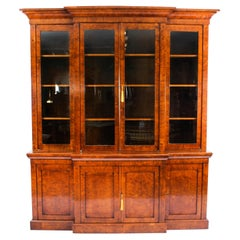 Antique English Pollard Oak Library Breakfront Bookcase Early 19th C