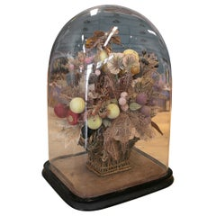 1950s English Victorian Woven Wicker & Plastic Basket w/ Flower Bouquet in Dome