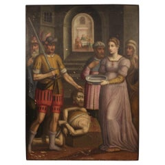 17th Century Oil on Panel Antique Religious Painting, 1630