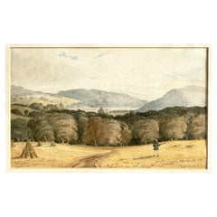 Hunting Hunt Forest, Dogs, English School 19 Century, Original Watercolor
