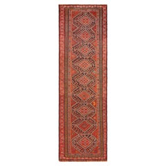 Antique Persian Qashqai Runner Rug. Size: 4 ft 1 in x 14 ft 3 in