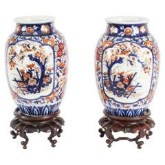 Antique Pair Japanese Imari Porcelain Vases on Stands 19th C