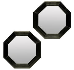 Pair of Large Octagonal Black Lacquered Mirrors