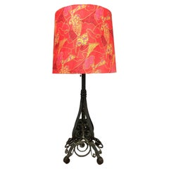 Antique Estate Made Wrought Iron Table Lamp