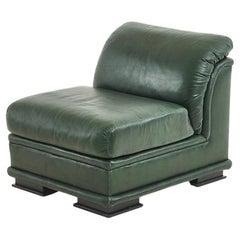 Henredon Green Leather Slipper Chair, 1980