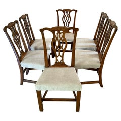 Quality Antique Oak Set of Six George III Chippendale Dining Chairs